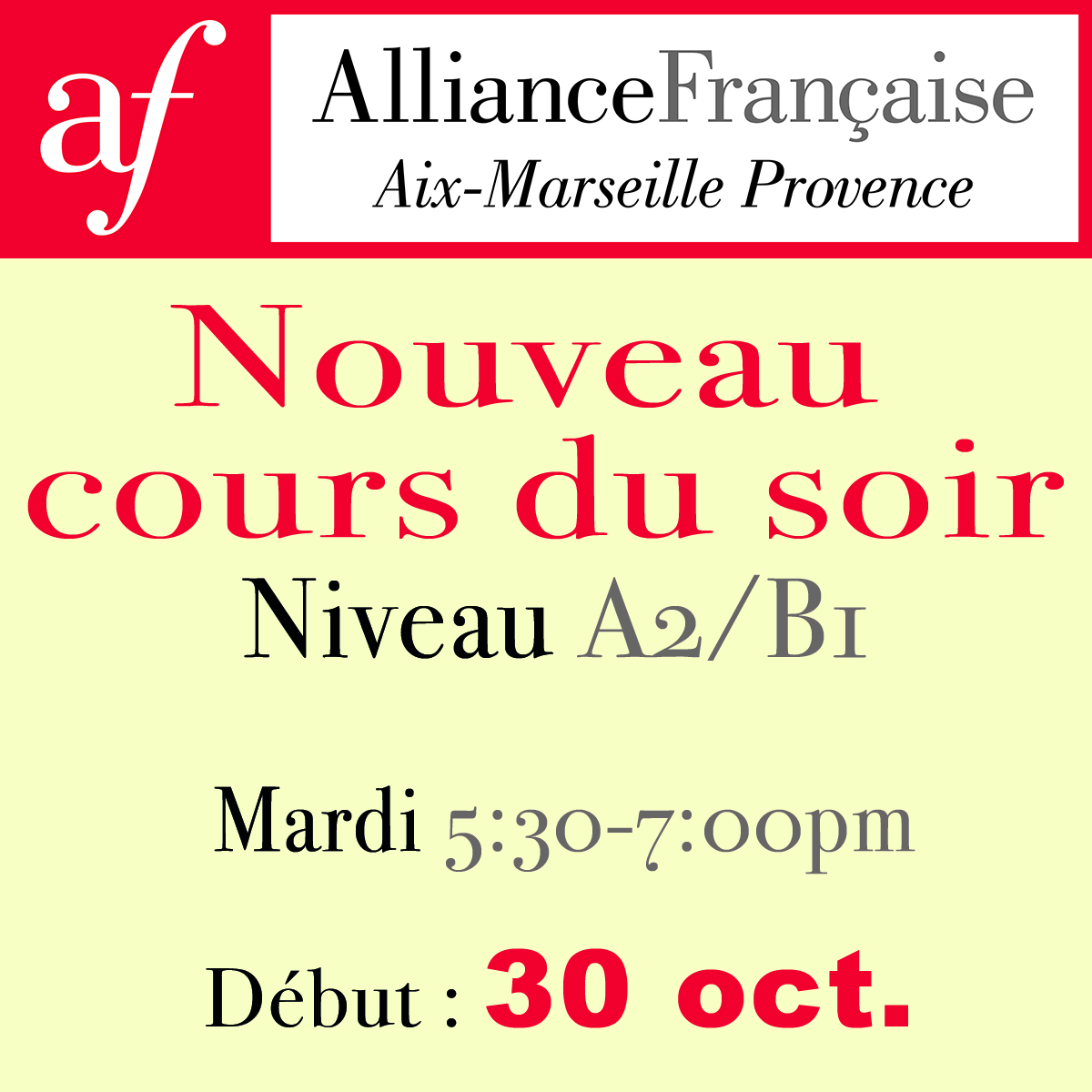 New evening course : 30 Oct. (level A2/B1)